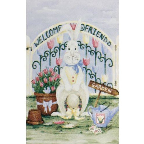 Welcome Friends Garden Bunny - House Flag