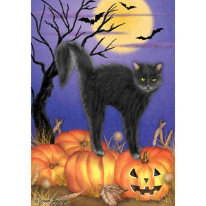 Jack O'Lantern Kitty - House Flag - FlagsOnline.com by CRW Flags Inc.