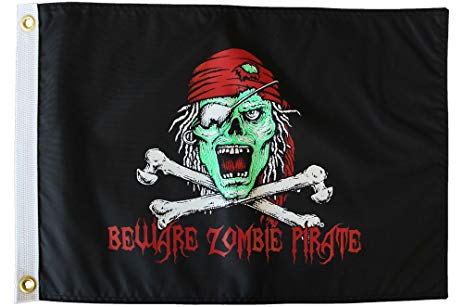 Beware Zombie Pirate Flag - Nylon