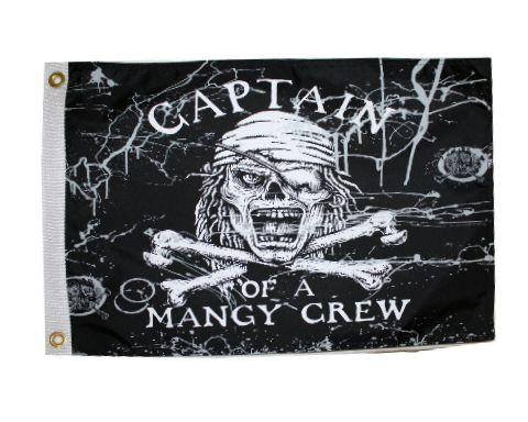 Captain of a Mangy Crew 12x18in Pirate Flag - Nylon