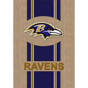 Baltimore Ravens Burlap House Flag 2 Sided