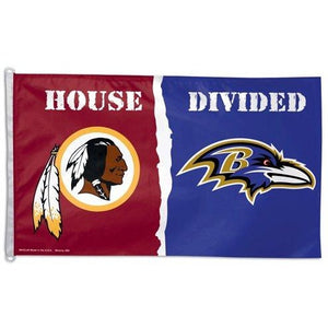 Baltimore Ravens / Washington Redskins House Divided 3x5ft Deluxe Flag