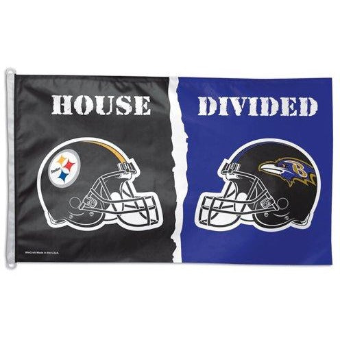 Baltimore Ravens / Pittsburgh Steelers House Divided 3x5ft Flag