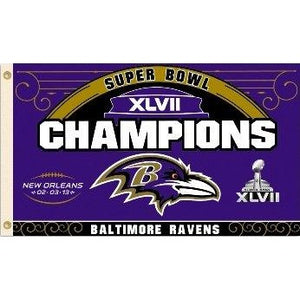 Super Bowl 47 Baltimore Ravens 3x5ft Flag