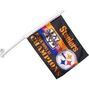 Super Bowl 40 Pittsburgh Steelers Car Flag 2 Sided