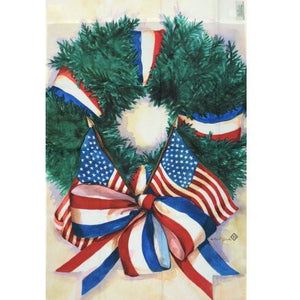 Patriotic Wreath - House Flag - FlagsOnline.com by CRW Flags Inc.
