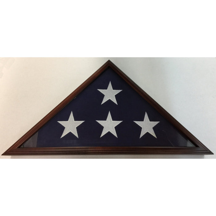 Triangle Wood Display Case for Burial Casket 5x9 1/2ft Flag - Cherry