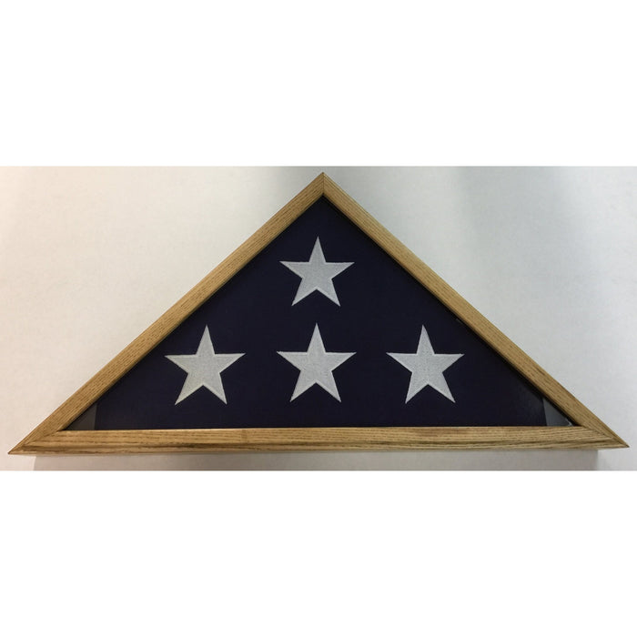 Triangle Wood Display Case for Burial Casket 5x9 1/2ft Flag - Oak