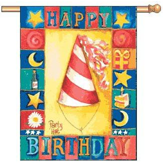 Happy Birthday Hat - House Flag - FlagsOnline.com by CRW Flags Inc.