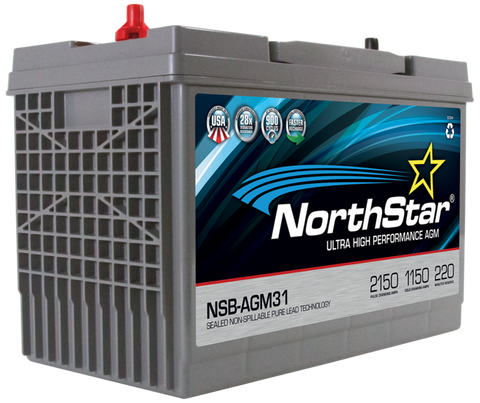 Northstar 12 Volt 1150 CCA AGM Battery Part No NSB-AGM31A BCI Group 31