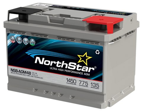 Northstar 12 Volt 775 CCA AGM Battery Part No NSB-AGM48/L3/H6 BCI Group 48