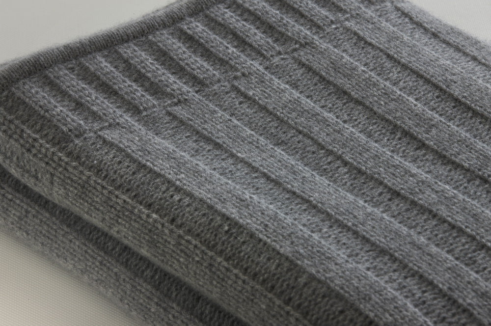 Chunky Rib-knit Throw Pale Grey