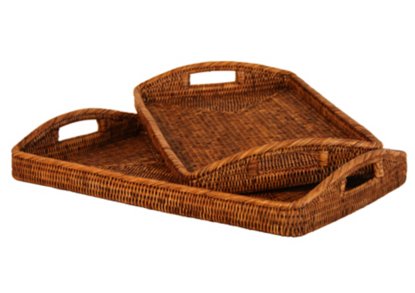 Rattan Breakfast Tray Set of 2