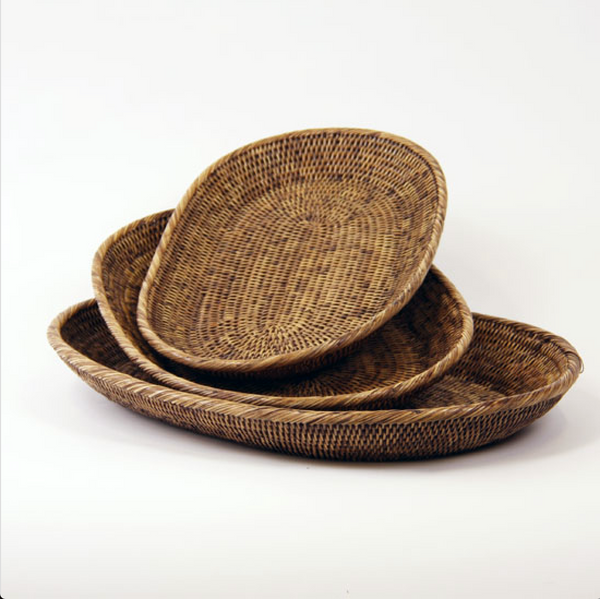 Rattan Oval Trays Set of 3