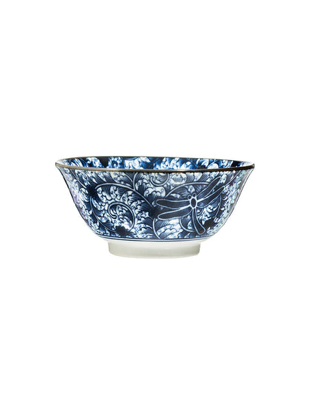 Japanese Dragonfly Pattern Small Noodle Bowl - Hamptons House - 1