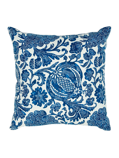 Blue & White Block Print Floral Cushion