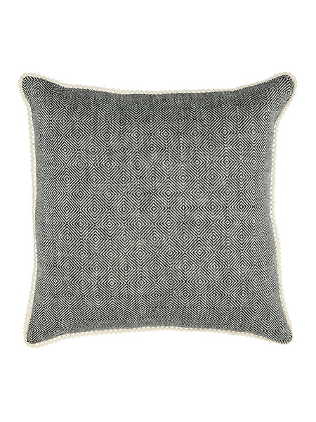 Black Diamond Pattern Cushion with Cotton Trim