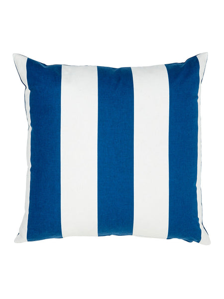 Blue & White Block Stripe Cushion (Various Sizes)