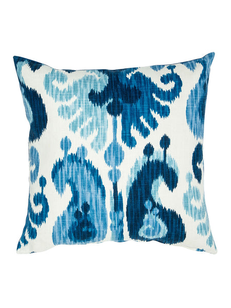 Blue and White Ikat Pattern Cushion