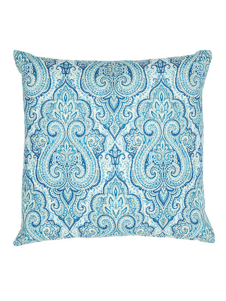 Light Blue Paisley Print Cushion (Various Sizes)
