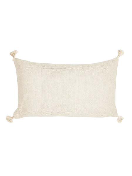 Linen Diamond Pattern Cushion with Tassels
