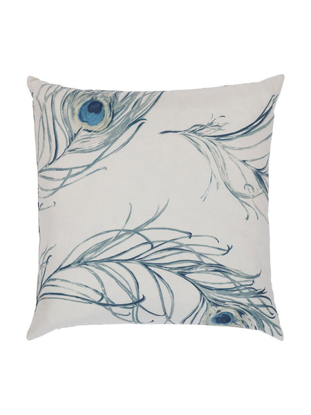 Painted Peacock Feather Cushion - Hamptons House - 1