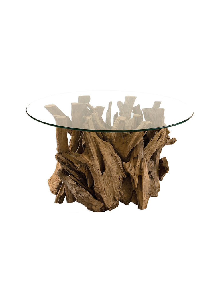 Driftwood Base with Glass Top Coffee Table Made From Teak