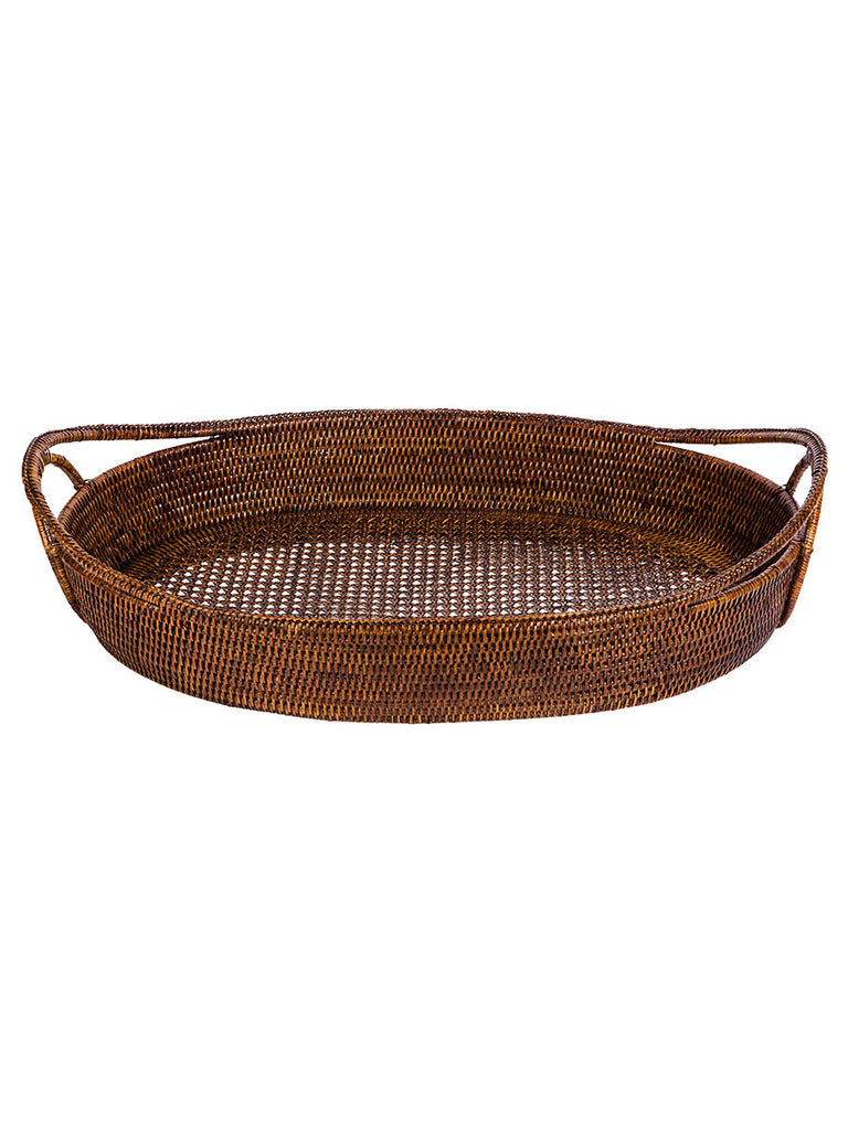 Rattan Oval Tray Open Weave - Hamptons House - 1