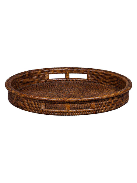 Dark Brown Classic Rattan Round Tray With Handles Hamptons House