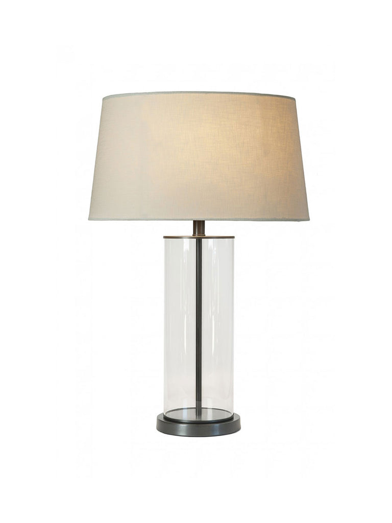 Glass Cylinder with Bronze Base Table Lamp with Fabric Shade ...