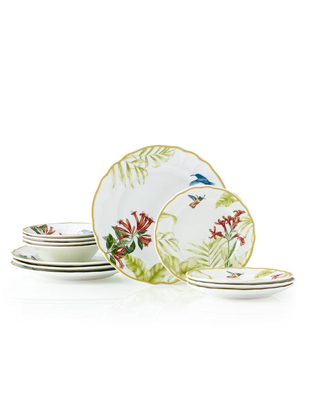 Hummingbird Meadow 12pc Dinner Set - Hamptons House - 1