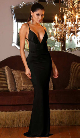 #1038 - Black Backless Mermaid Formal Dress - Available in Sizes 8/10
