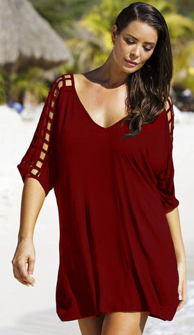 #20906 - Long Burgundy Top with Cut out Design - Available in  10/14, 16/20