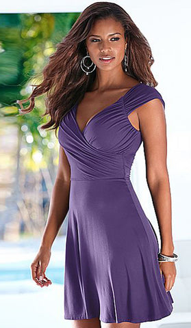 #20945 - Purple Twist Front Skater Dress - Available in Size 8/10, 10/12, 12/14, 14/16