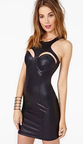 #21122 - Peek-a-boo Leather Look Club Bodycon Dress- Available in Sizes 10/14