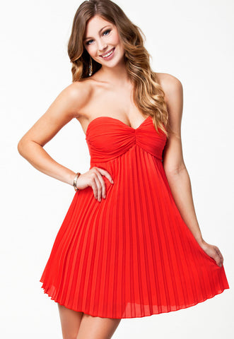 21481 Red Permanently Pleated short dress