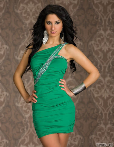 #2426 - One Shoulder Bling Dress - Green - Available in Sizes 8/12