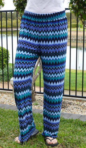 #3327 - Palazzo Pants - Green & Blue Colour - Available in Sizes 10/12, 14/16, 18/20 & 20/24