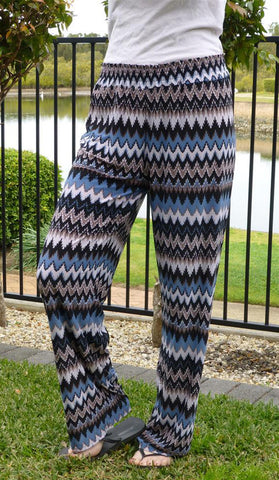 #3327 - Palazzo Pants - Mocha & Blue Colour - Available in Sizes 10/12, 14/16, 18/20 & 20/24