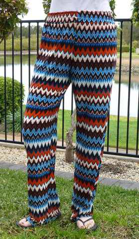 #3327 - Palazzo Pants - Orange & Blue Colour - Available in Sizes 10/12, 14/16, 18/20 & 20/24