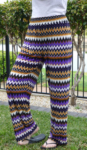 #3327 - Palazzo Pants - Purple & Mustard Colour - Available in Sizes 10/12, 14/16, 18/20 & 20/24