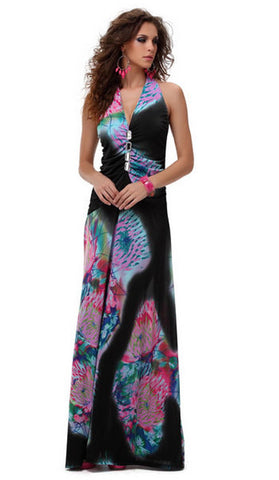 #4171 - Long Halter Maxi Dress - Black & PinkFloral - Available in Sizes 12/16
