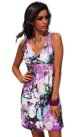 #4190 - Purple Print Dress - Available in Sizes 14/20