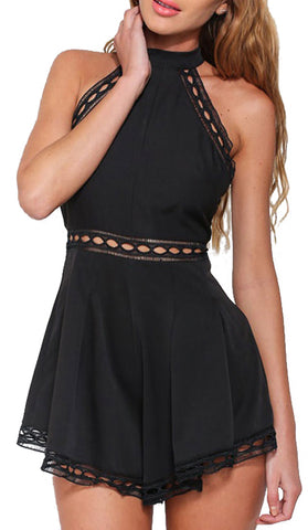 #60515 - Black High Neck Flared Playsuit - Available in Sizes 8/12