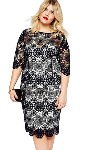 #61064 - Black Lace Crochet Sleeved Pencil Dress - Available in size 14/18