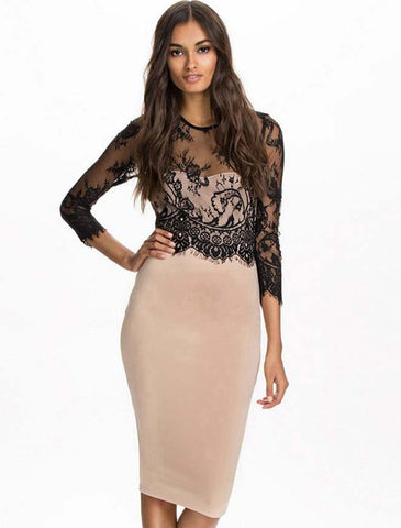 70065 Cream Cocktail dress with Black Lace Bolero top