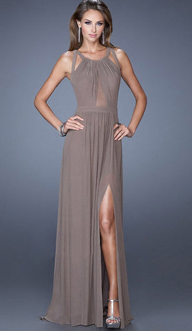 #70337 - Mocha Chiffon Long Gown - Available in sizes 14/16