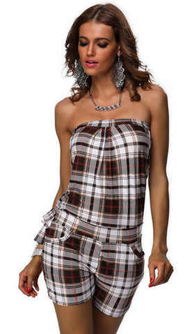 #7222 - Strapless Playsuit - Brown Tartan - Available in Sizes 6/10, 12/16