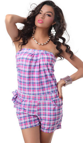 #7222 - Strapless Playsuit - Pink & Purple Tartan - Available in Size 6/10