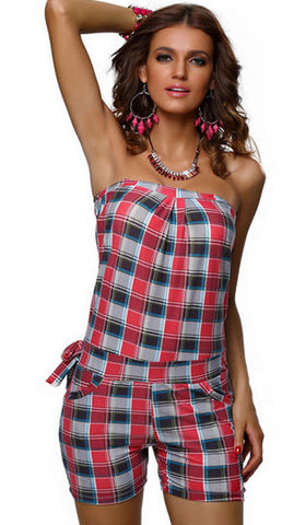 #7222 - Strapless Playsuit - Red Tartan - Available in  Size 12/16